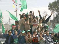 Young Hamas supporters celebrate