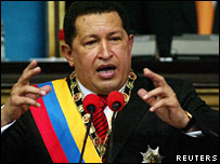 President Hugo Chavez addressing the National Assembly on 13 January