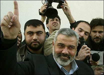 Hamas leader Ismail Hanieh salutes supporters at the al-Shati refugee camp in Gaza City