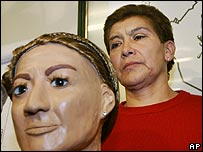 Mexican serial killing suspect Juana Barraza, next to a police mock-up