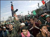 Crowd of Hamas supporters in Gaza