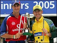 Vaughan and Ponting with NatWest trophy