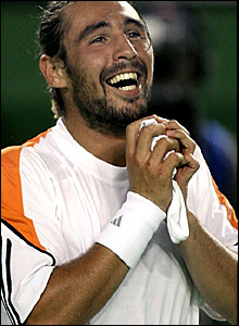 Marcos Baghdatis celebrates his victory over David Nalbandian