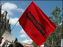 Revolution flag at Edinburgh poverty march