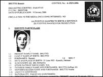The Interpol notice for Ms Bhutto