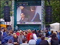 Cardiff crowd watching Live 8 on big screen