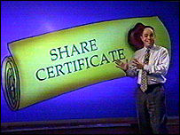 Adam with share certificate