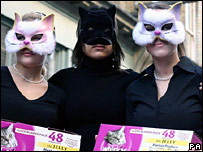 Labour supporters in cat masks