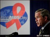 US President George W Bush speaking on World Aids Day
