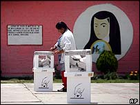 Woman voting in Mexico state