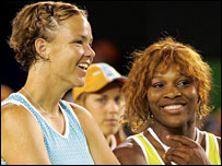 Lindsay Davenport (left) and Serena Williams