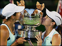 China's Yan Zi and Zheng Jie celebrate their success