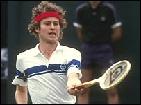 American tennis legend John McEnroe in action in 1981