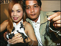 Kanchana Ketkaew, 36, left, holds and is covered with scorpions next to her 29-year-old fiancée Bunthawee Sengwong, Jan. 25, 2006