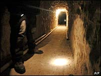 The interior of the Tijuana-US tunnel