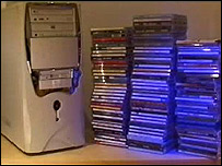 CDs stacked by a computer