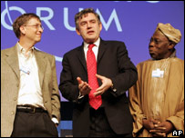 Bill Gates of Microsoft, UK Chancellor Gordon Brown and Nigerian President Olusegun Obasanjo at Davos