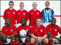 The England team: back row: Paul Roznowski, Gary Lee Whiteside, Craig Phillips, Ben Colvin. Front row: Romeo Dechamp Gullain, Fernand Bass, Terry Barlow, Maybin Malawo. Photo by Jason Lock
