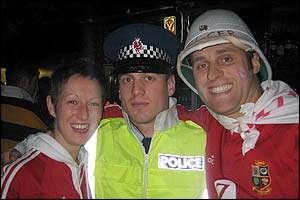 Bethan Jones and a New Zealand policeman
