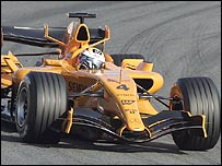 The new McLaren MP4-21 being tested near Barcelona