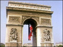 The Arc de Triomphe in Paris, one of the city's best known landmarks