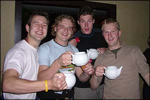 Rory and the boys pose with their teapots