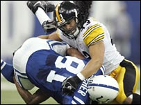 Polamalu brings down Brian Fletcher of the Colts