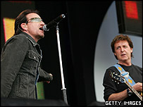 Bono and Paul McCartney at London's Live 8 concert