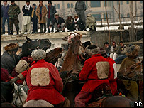 Afghans playing the national game of buzkashi in Kabul