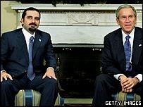 President Bush (right) and Saad Hariri