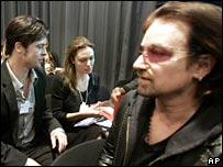 (Left to right) Brad Pitt, Angelina Jolie and Bono at Davos