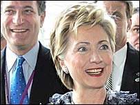 New York's Olympic bid leader Dan Doctoroff and US Senator Hilary Clinton