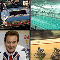 The Millennium Stadium, Cardiff; the National Pool, Swansea; National Velodrome, Newport; Welsh Olympic star Lynn Davies backing London 2012. Photos: BBC/PA