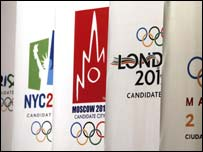 Five cities are bidding for the 2012 Games - Paris, New York, Moscow, London and Madrid