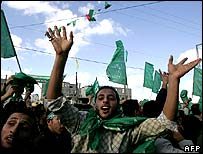 Hamas supporters celebrating victory.