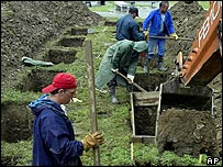 Graves being dug at a memorial centre for victims of the Srebrenica massacre