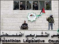 Gunmen on the legislative building in Ramallah