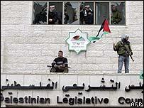 Gunmen on the legislative building in Ramallah