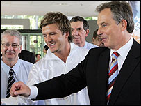 David Beckham and Tony Blair in Singapore