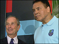 New York mayor Michael Bloomberg and Muhammad Ali