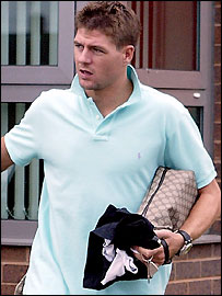 Steven Gerrard leaves training at Melwood on Monday