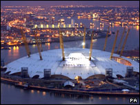 The Dome bearing a banner to support the London 2012 bid