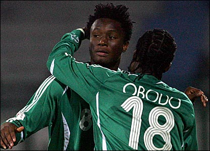 Nigeria's John Mikel Obi (left) and Christian Obodo
