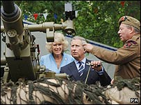 Prince Charles and Camilla at a WWII field gun display