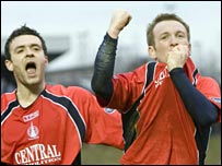 Stephen O'Donnell (right) celebrates scoring Falkirk's winner