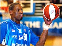 Dennis Rodman in action for the Brighton Bears