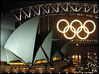 Olympic rings at Sydney harbour bridge and Sydney Opera House