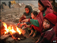 Children in a refugee camp in Muzaffarabad in Pakistan-administered Kashmir