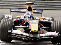 David Coulthard in a Red Bull Formula One car