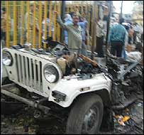 Wreckage of the jeep